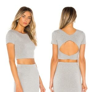 REVOLVE Aerin Open back Cropped Tee Grey Small